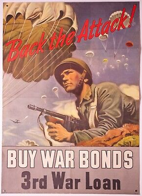 "Back the Attack! 3rd War Loan Poster Orig. US Govt 1943 ~20"" x 28"" Ex. Cond."
