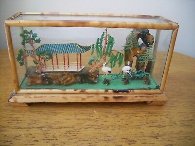 Miniature Japanese Garden Scene Bamboo In Glass Case