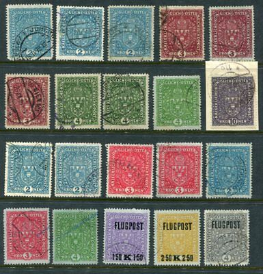AUSTRIA 1917-19 High Values to 10Kr + AIRMAIL Used Lot 20 Stamps