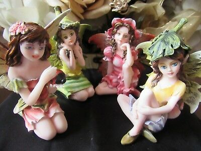 """FAIRY GARDEN miniature 3"""" Small Sitting Fairy Figurine with leaf hat NEW in BOX"""