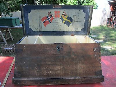 Antique Sea Chest - Splayed - Swedish & Norwegian Flags