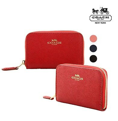 NWT COACH Zip Around Coin Case Card Wallet Leather Coin Red Black Navy Pink NEW