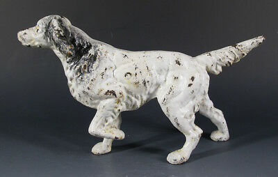 Antique Hubley Cast Iron English Setter Dog Figural Doorstop ORIGINAL Paint yqz