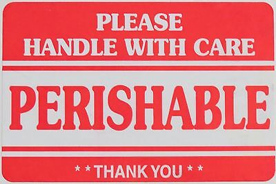 """Lot of 25 / 2""""x3"""" PERISHABLE - Please Handle with Care Shipping Labels *"""