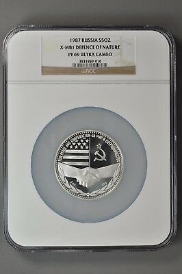 Russia 1987 X-MB1 Defense of Nature Russo-American Peace 5 oz Silver - NGC PF69