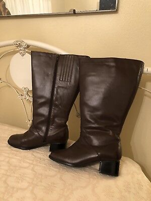 """42c14aaa905 Fitzwell David Tate Dover Womens Brown Leather Boots 7W Extra Wide 19"""" Calf"""