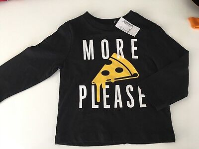 New The Childrens Place Black Long Sleeve Pizza Tee Shirt Toddler Baby 12-18 Mos