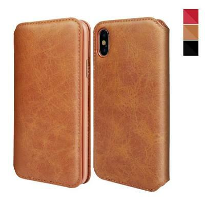 XUNDD iPhone Xs Max Genuine Leather Case Flip Folio Wallet Cover with Card Slots