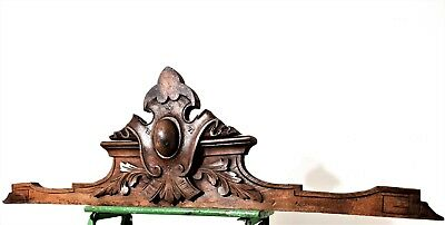 Weathered gothic victory pediment Antique french wooden architectural salvage