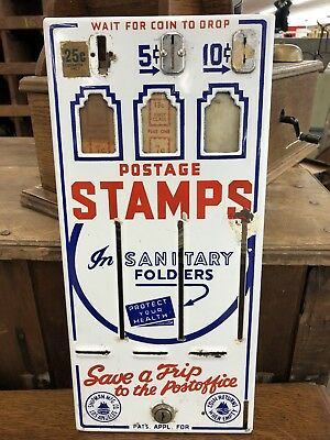 Vintage Porcelain Postage Stamp Machine 5 And 10 Cent Face Only