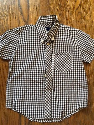 Boys Ben Sherman Brown and White Gingham Check Short Sleeve Shirt Size 2-3T