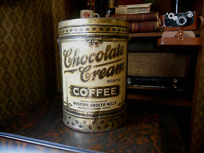 Rare Early Antique Chocolate Cream Coffee Tin  Pail Marshalltown, IA