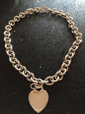 Tiffany &Co 925 Heart Tag Choker Necklace Sterling Silver Genuine