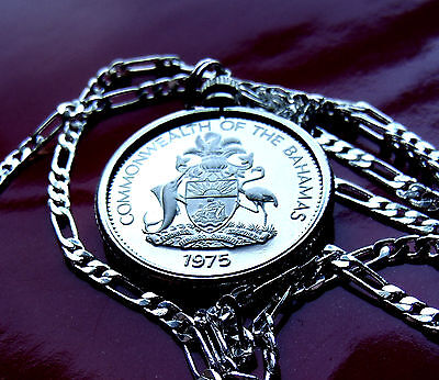 """BAHAMAS MARLIN COAT OF ARMS  Pendant on a 30"""" 925 STERLING Silver Chain"""
