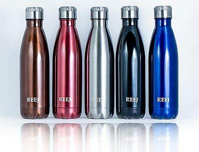 Reej Stainless Steel, Double Wall, Vacuum Insulated, Cola Shaped Thermos Bottle