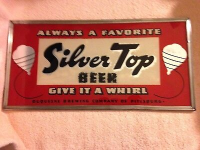 1930's? Silver Top Beer Give It A Wirl Reverse Painted Glass Sign  Duquesne Brew