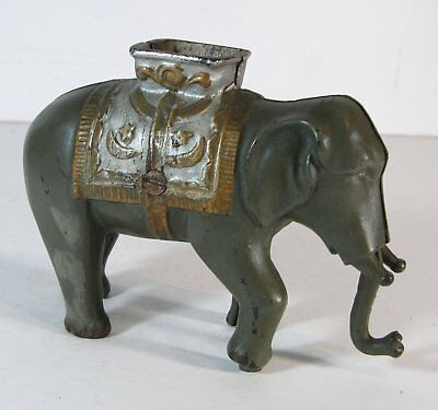 1910s CAST IRON ELEPHANT SWINGS TRUNK MECHANICAL BANK By A C WILLIAMS FINE PAINT