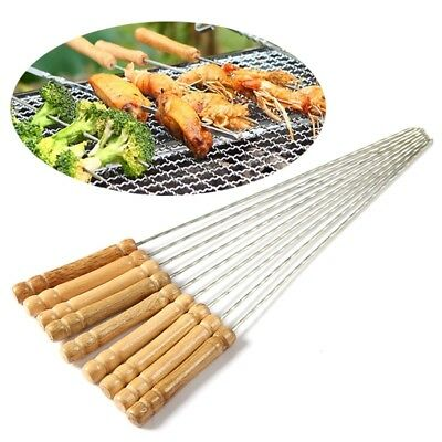 6/12pcs Stainless Steel Barbecue BBQ Skewers Needle Camping Kebab Kabob Stick
