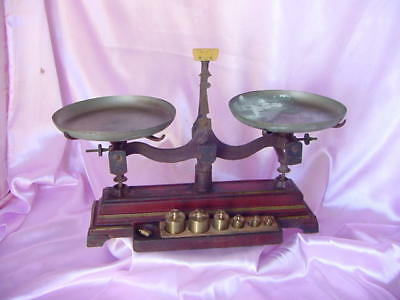 Antique Henry Troemner Cast Iron Metal Weight Balance Scale Vintage Set Nr
