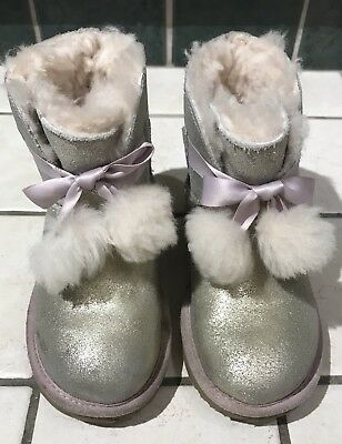 a6ee87af143 UGG GITA METALLIC SILVER POM POM BOW BOOTS SIZE 3 KIDS YOUTH GIRL ...