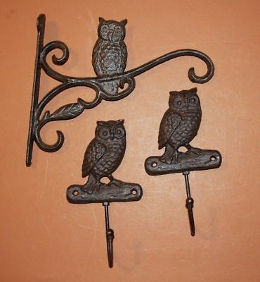 (3), Owl Wall Hook Set, Rustic, Solid Cast Iron, Owl Plant Hanger, Owl Decor, 9""