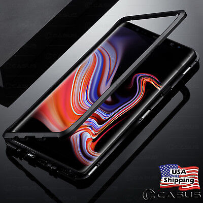 For Samsung Galaxy Note 9 S9+ Magnetic Metal Tempered Glass Back Cover Case
