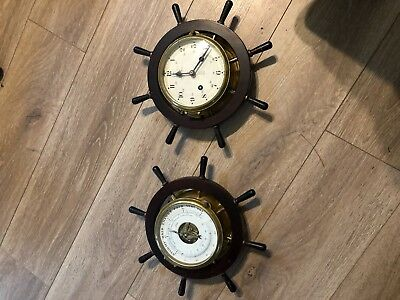 Vintage Schatz Royal Mariner.Ships Bell 8 Day Wheel Clock & Barometer-Germany