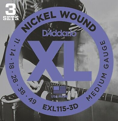 D'Addario EXL115-3D Nickel Wound Electric, Medium/Blues-Jazz Rock, 11-49, 3 Pack