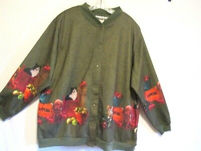BLAIR Women's Bomber Jacket - Snap Front - Green w/ Cats - Kittens - Puppy Dogs