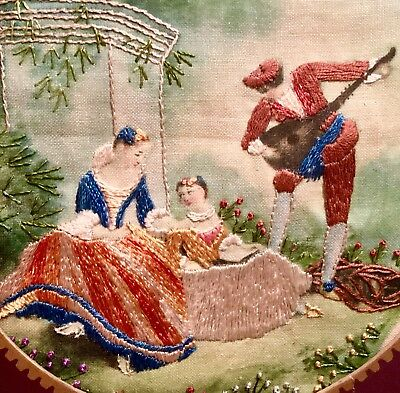 Embroidered And Painted Fabric Picture
