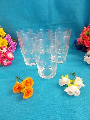 Lovely Vintage Glass Glasses/tumblers - Etched Flower Pattern X 6 - Ex Cond