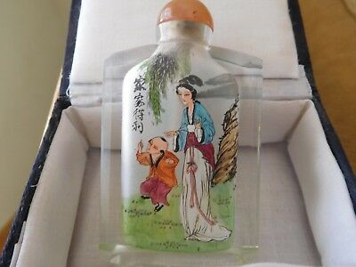 Antique Chinese Craft Art Inside Painted Geisha Crystal Cut Glass Snuff Bottle