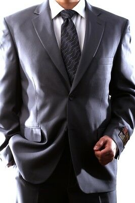 Mens Single Breasted 2 Button Gray Dress Suit Size 42R, Pl-60212N-206-Gre