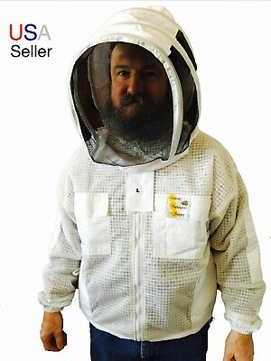 Beekeeper 3 Layer Ventilated Jacket with Veil, Protective Clothing, US Seller