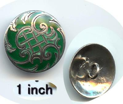 Green Enamel With Hallmarked & Signed Silver Rococo Design Antique Button
