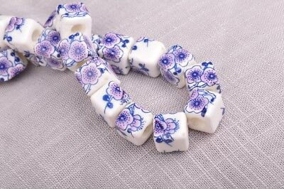 NEW 10pcs 10mm Cube Square Ceramic Spacer Loose Beads Flowers Pattern #24
