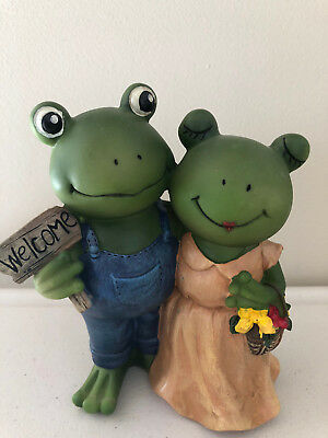 Welcome Frog Couple Toad Figurine Garden Decor Sculpture Home Decor (1)