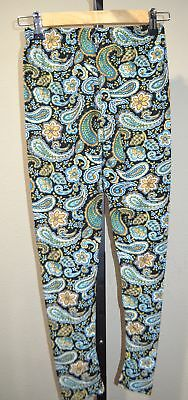 63abfe22c402b EUC Fine Design Leggings Navy Blue Paisley Buttery Soft Comfy size One Size