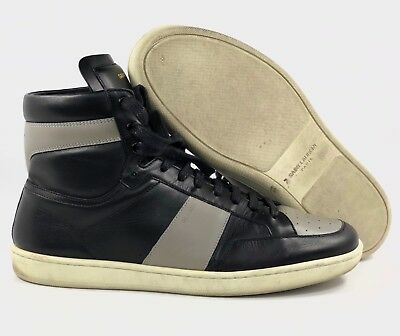 693001a5a5 YVES SAINT LAURENT YSL SL/10 H Leather High Top Sneaker Black Grey White  Mens 43