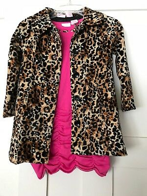Girls Pink Knit Dress Amy Coe Size 4T With Matching Animal Print Jacket & Tights