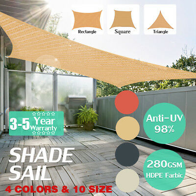 Sun Shade Sail Patio Sunscreen Awning Canopy Screen 98% UV Block Greenbay FN