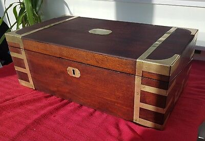 Chest coffer coffee table trunk Mahogany Military Campaign c1860 writing slope