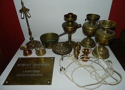 Job Lot of Vintage Brass Items/Lamps
