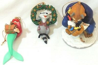 Disney Little Mermaid, Beast & Meeko Christmas Ornaments  Thames hospice 102W2