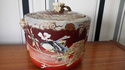 vintage japanese storage pot with lid hand painted must see