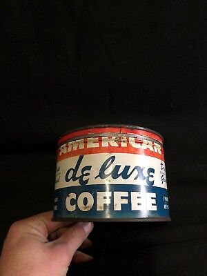 Vintage American Deluxe Coffee 1 Pound Tin with Lid