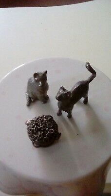 pewter cats and flower basket vintage