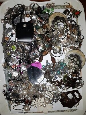 Job Lot Of costume jewellery old new spares repairs or craft  845g 1