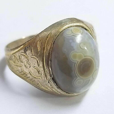 wow antique 925 sterling silver men ring natural agate yemen size us 7.5