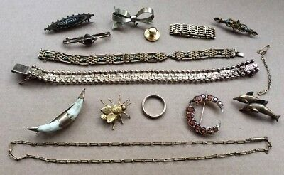 Job Lot Vintage Antique Rolled Gold Plated & Costume Jewellery Some Repairs